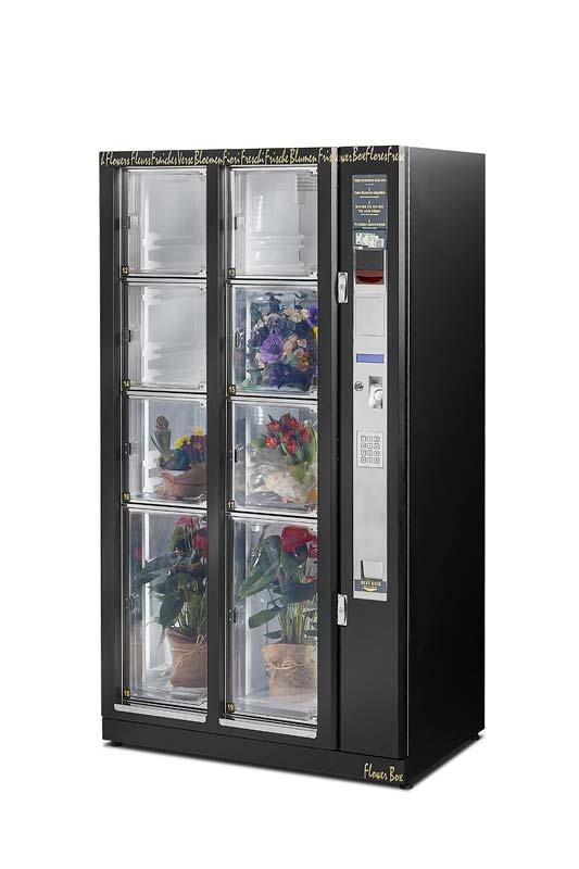 Buketterne holder sig flotte og friske i blomsterautomatens kølige miljø