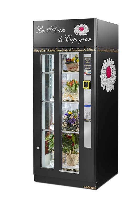 Indbygget køling i blomsterautomaten holder buketter m.m. friske og flotte