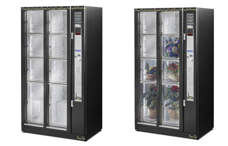 Flowerbox –blomsterautomat med 8-10 rum til buketter, dekorationer, gavekurve m.m.